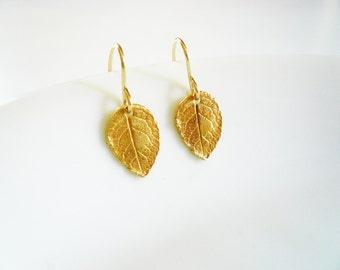 Tiny Rustic Leaf Earrings in Gold - Detailed Gold Filled and Vermeil Rose Leaf Earrings Dainty Everyday Earrings