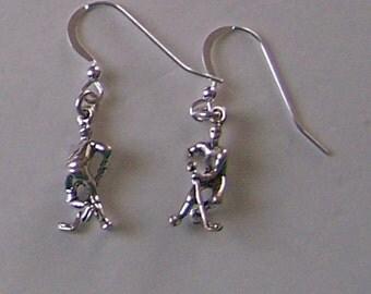 Sterling Silver 3D HOCKEY PLAYER Earrings - Sports