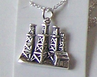 Sterling Silver TEXAS OIL DERRICK Pendant and 20 Inch Chain - Occupation, Profession