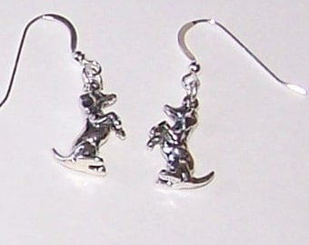 Sterling Silver 3D DACHSHUND Earrings - Dog, Pet