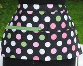 Vendor Apron Server Apron Cash Apron Travel Apron Black Polka Dots Heavy Weight
