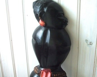 handcarved ebony tribal wall sculpture silhouette African woman