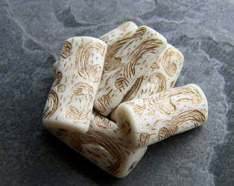 Vintage Beads-Vintage Cream & Gold Etched Carved Unique Shaped Bead-6
