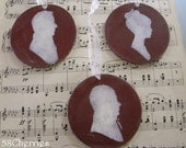 Jane Austen Inspired Silhouette Ornaments - Dark Red and Antique White- Ladies and Gentlemen - Shabby Chic - Prim - Valentine or Bridal Gift