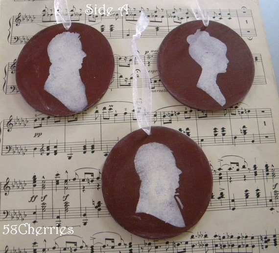 Jane Austen Inspired Silhouette Ornaments - Dark Red and Antique White- Ladies and Gentlemen - Shabby Chic Christmas Decor - Grubby Prim