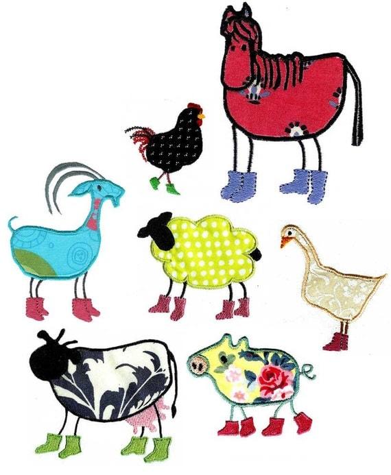 Applique farm animals machine embroidery designs from