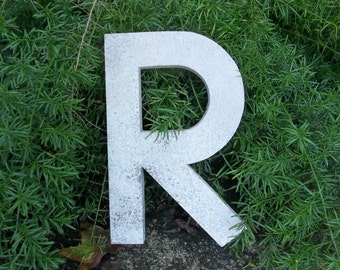 Vintage Letter R Architectural Salvage Fragment Metal Sign Letter Antique Old Building Fragment Signage Industrial Alphabet Rustic Initial