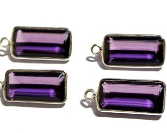 1Pcs 925 Sterling Silver and AAA Amethyst Quartz Faceted Baguette Cut Gemstone Bezels- Size 26x11mm approx