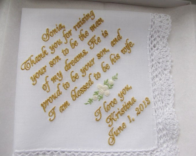 Personalized Mother of the Groom Wedding Handkerchief from Bride