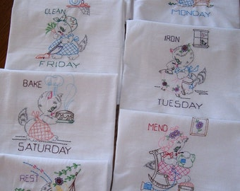 Days of the Week flour sack towels, Miss Kitty at Work,  set of 7 dish towels, machine embroidery