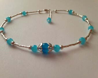 Sterling Silver and Blue Jade Anklet