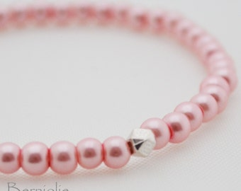 Beaded bracelet, pink glass pearl beads 4mm, stretchy, 7 inch, S14