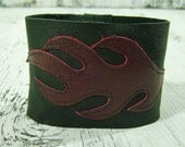 CLEARANCE Flame Cuff Bracelet in Upcycled Burgundy and Black Leather