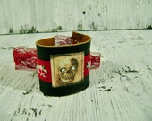 Leather Cuff Bracelet with Skull Imagery