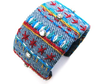 Denim Striped Cuff, Friendship Inspired, Embroidery on Recycled Fabric