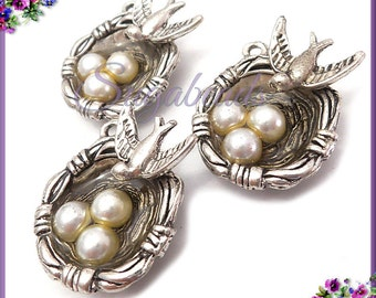 2 Antiqued Silver Birds Nest Charms - Bird Nest w Faux Pearl Eggs Charms PS99