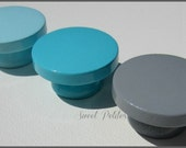Hand Painted Knobs • Dresser Drawer Knobs • Sweet Petites Boutique • Trending Nursery Collections • Grey • Turquoise • Light Turquoise
