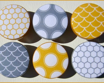 Yellow and Grey Knobs • Polka Dot • Geometric • Fish Scale • Mustard Yellow • Baby Nursery • Room Decor • Dresser Knobs • Drawer Knobs