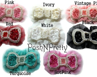 "5.5"" Chiffon Pearl Bows with tulle embellished with beads and Sparkle stones - Set of 5 - CHOOSE COLORS"