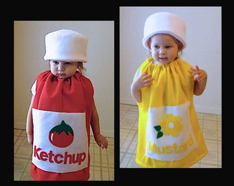 Kids Twin Set Halloween Costume Ketchup and Mustard Girl Costume Boy Costume Children Toddler Group Costume