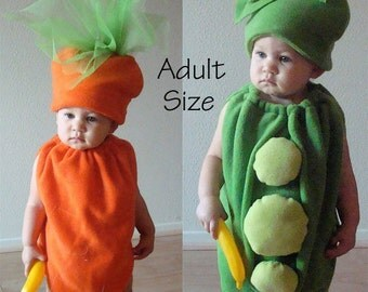 Adult Couples Costumes Peas and Carrots Pea Pod Food Costumes Twin Mens Womens Teens Dress Up Photo Prop Purim