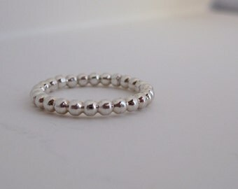 Little Beaded Sterling Silver Stacking Ring