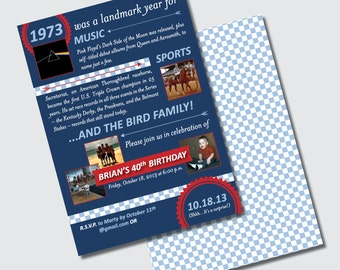 Birthday Party Invitations for a Landmark Year 30th 40th 50th 60th 70th 80th 90th - DESIGN FEE