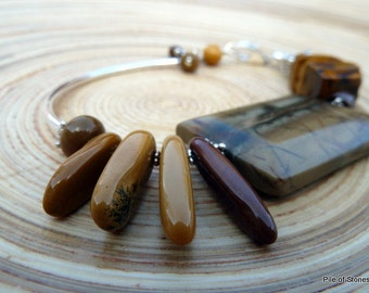 Bracelet, Earth Etchings, Organic Eclectic Woodland Nature, Large Gemstone Focal, Sterling Silver Accents, Eye-Catching Brown Mustard Maroon