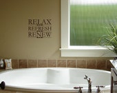 Relax Refresh Renew Bathroom Sayings Quote Vinyl Lettering Wall Words Stickers Decals1562