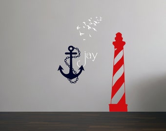 Nautical Theme Lighthouse Anchor Birds - Nursery or Bedroom Decor - Vinyl Lettering - Vinyl Wall Quote Saying Stickers Decals 1408