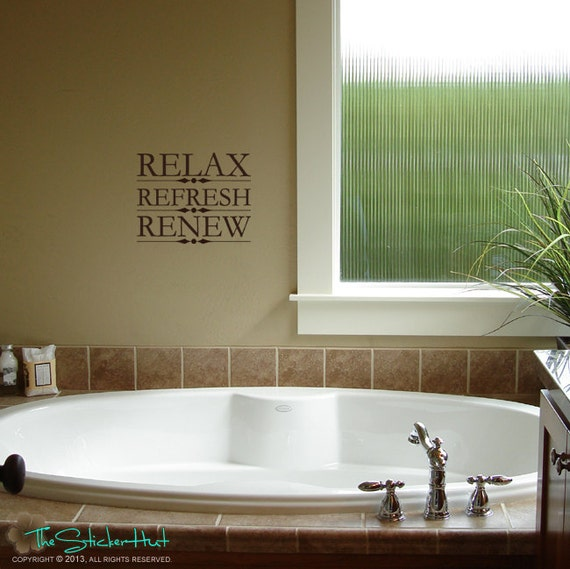 Items similar to relax refresh renew bathroom sayings for Renew bathroom