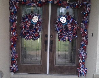 Custom Order for patriotic double door wreath and garland set, handmade. 4th of July, Independence day, Memorial day, Veterans day
