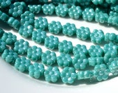 Turquoise Luster FLower COin Beads   25
