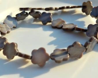 Grey Flower Shell Beads   FULL STRAND