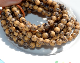 Brown with Black Splatter 6mm Round Frosted Beads   30
