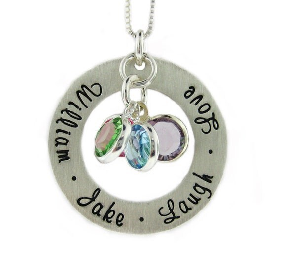 Hand Stamped Jewelry - CIRCLE of LOVE - Mothers Birthstone Necklace - Personalize with names dates and birthstones (NN031)