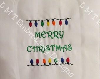 Merry Christmas - Christmas Lights Embroidery Design - 5x7