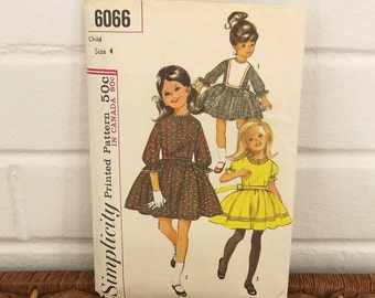 Vintage 60's Sewing Pattern, Girl's Dress, Size 4