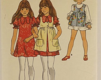 Vintage 70's Sewing Pattern, Girls Dress and Pinafore, Size 10