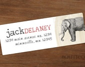 Personalized Address Labels - Elephant Rectangle