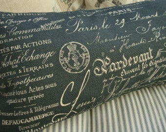 Cottage PiLLOW French Shabby Chic Paris Script 12x24 with Black Ticking