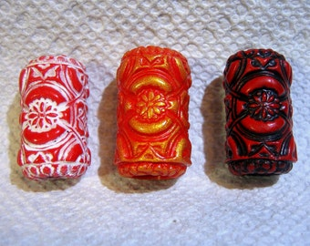 Dread Beads Choice of Red  Embossed Dreadlock  Beads  Set of 3   You Choose Hole Size