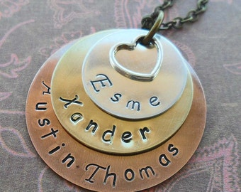 Mom Necklace -Personalized Hand Stamped Mother's Day Jewelry- Rustic Personalized Mom Grandma Necklace - Custom Names Mom Gift-S134