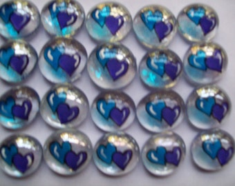 Hand painted glass gems party favors art  purple and blue  WEDDING HEARTS