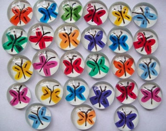 Hand painted glass gems party favors  butterflies butterfly set of 25