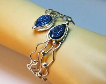 Sterling silver, blue, titanium druzy, adjustable, statement, cuff bracelet