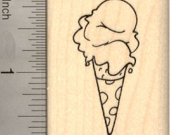 Ice Cream Rubber Stamp, Hand Dipped Sugar Cone  E22101  wood mounted