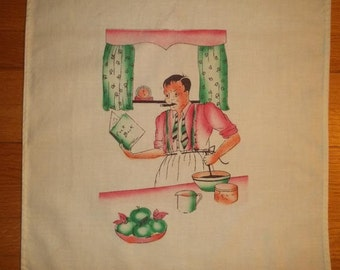 SALE...Vtg 50s Cotton Kitchen Towel...Humorous Graphics....Bachelor or Mr Mom Trying to Cook Dinner