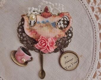 Pink Tea Pot, Vintage, Blue Bird,  Brooch