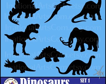 Dinosaur Silhouettes - 8 Vinyl Ready Images & png files, plus a commercial license T-rex mammoth stegosaurus brontosaurus {Instant Download}